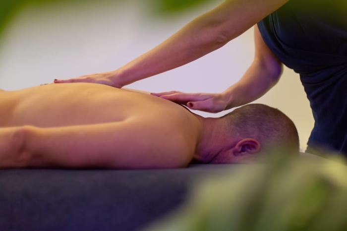 Massage, main, points, soins, soins du corps, soins du visage